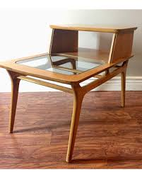 original vintage mid century modern heywood wakefield amber 9809 two tier side table end table with glass insert