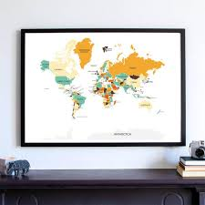 World Map Wall Art Print Gift For Him Gift For Her Office Decor Home Decor Statement Kitchen Decor