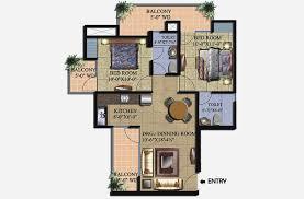 supertech livingston 2bhk floor plan 1000 sqft