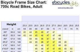 Frame Size Chart For Road Bicycles Bmx Bike Frames Road