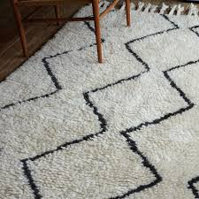 view in gallery black and white wool rug with a zigzag pattern