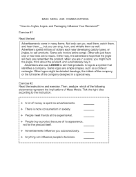 advertising and brands worksheets