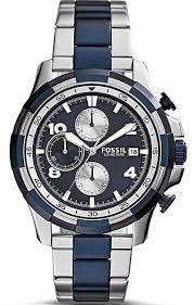men s fossil dean chronograph blue dial watch fs5149
