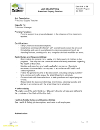 Preschool Teacher Duties For Resume Free Download Cover Letter