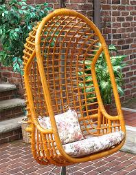Rattan Single Swing Chair with Cushions
