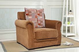 alton 1 seater light brown fabric sofa