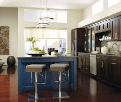 dark cabinets kitchen. Dark Wood Cabinets With A Blue Kitchen Island