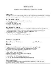Sample Resume For Bartender Server Under Fontanacountryinn Com