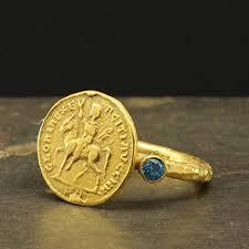Ancient <b>Roman</b> Art Signet Greek Coin Ring <b>925 Sterling Silver</b> 24K ...