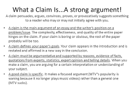 what a claim is a strong argument a claim persuades argues  a strong argument