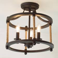 rope wrapped rustic semiflush ceiling light rustic ceiling light fixtures s69 ceiling