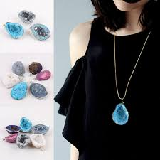 details about natural crystal agate geode stone pendant bead diy necklace jewelry making gift