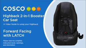 highback 2 in 1 booster car seat forward facing with latch installation cosco kids