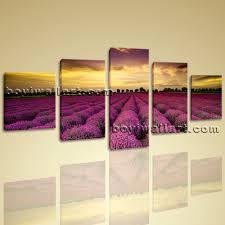 Modern Art Bedroom Landscape Wall Art On Canvas Hd Print Lavender Sunset Glow Scene