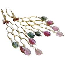 tourmaline chandelier earrings pink green tourmaline gold filled earrings camp sun gem
