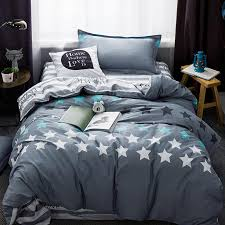 2018 stars grey bed cover bedding set twin size children students duvet cover set cotton bedlinen sheet pillowcase black and white duvet set duvet and duvet