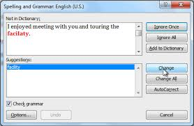 word checking spelling and grammar page  correcting a spelling error