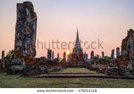 famous ancient architecture. Ruins And Pagoda Ancient Architecture Of Wat Phra Si Sanphet Old Temple Famous Attractions During Sunset U