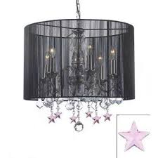 empress 6 light black chandelier with black shade and pink crystal stars