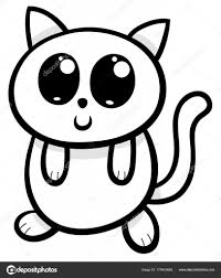 Cartoon Kawaii Cat Or Kitten Illustration Stock Vector Izakowski