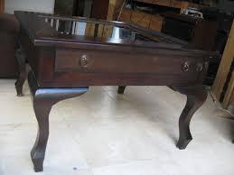 showcase coffee table mahogany wood glass top drawer