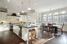 engineered hardwood floors kitchen traditional with bay black countertop bow casement counter stools