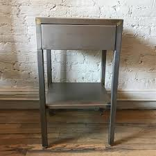 Vintage industrial simmons metal side table Yhome Cityfoundry Vintage Brushed Steel Side Table By Superior Sleeprite Cityfoundry