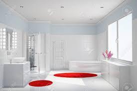 Modernes Weißes Badezimmer Mit Dusche Und Badewanne Lizenzfreie