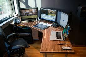 multi level computer desk lovely custom editing desk build for my first edit room so