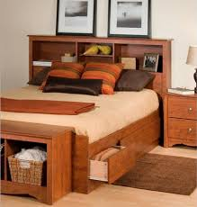 Queen Storage Bed with Bookcase Headboard | Upholstered Bed Frame with  Storage | Queen Size Bed