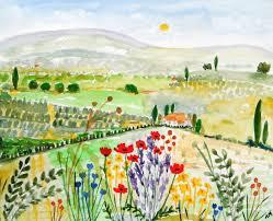 original watercolour painting greek landscape dreaming of greece