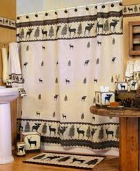 woodlands fabric bathroom shower curtain deer moose lodge cabin outdoor themed shower curtains