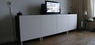 White Ikea Besta Cabinets
