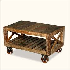 ... Coffee Table, Exciting Teak Reectangle Rustic Wood Rolling Coffee Table  With Storage On Wheels Designs ...