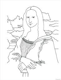 Mona Lisa Coloring Page Coloring Page With Wallpaper Mona