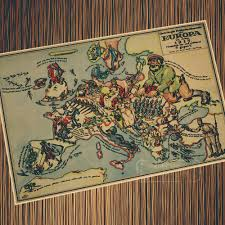 diy comic book desk. Vintage WW1 Current Situation Map Of 1915 Europe Retro Poster Canvas Painting DIY Wall Paper Posters Diy Comic Book Desk