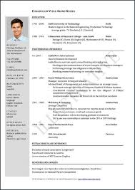 Format For Curriculum Vitae Adorable Resume For Undergraduate Student Sample Format Curriculum Vitae