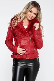 red casual short cut jacket from ecological leathe s039815 1 384958 jpg