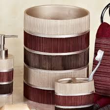 Maroon Bathroom Accessories Modern Line Burgundy Striped Bath Accessories