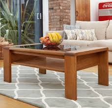 olten glass top coffee table with shelf oak finish and modern design
