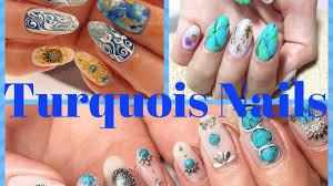 Turquoise Nails - Turquoise Stone Nail Art Designs - YouTube