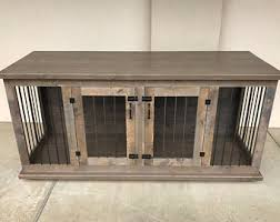 cage furniture. custom double dog kennel furniture crate hinged door wood cage