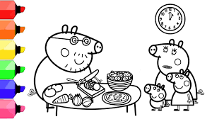 Select from 35450 printable coloring pages of cartoons, animals, nature, bible and many more. Peppa Pig Coloring Pages For Kids Daddy Pig S Cooking Time In The Kitchen Mummy Pig S Book Youtube