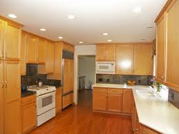 Dropped Ceiling Kitchen Stylish Pine Wooden Cabinetry Set With White Porcelain Countertop