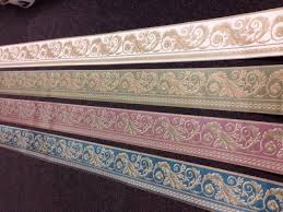rococo swirl vinyl wallpaper border green pink or teal gold white 1