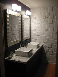 3d wall panels in powder room could diy with thin mdf squares