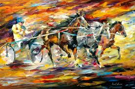 original paintings art famous artist biography official page gallery large artwork fine animal pet horse rider race chariot