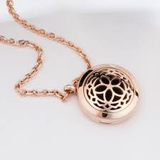 aromatherapy essential oil diffuser necklace jewelry rose gold hypo allergenic 316l surgical grade