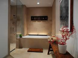 Bathroom:Relaxing Spa Bathroom Design With Wooden Bench Seating And Cream  Tile Wall Ideas Relaxing