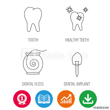 Teeth Growth Chart Tooth Healthy Teeth And Dental Implant Icons Dental Floss